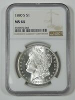 1880-S MORGAN SILVER DOLLAR CERTIFIED NGC MINT STATE 64