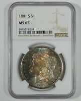 1881-S MORGAN SILVER DOLLAR CERTIFIED NGC MINT STATE 65  GORGEOUS TONING