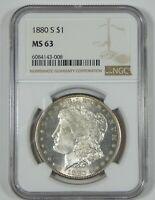 1880-S MORGAN SILVER DOLLAR CERTIFIED NGC MINT STATE 63