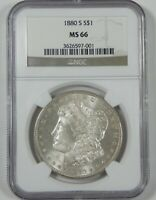 1880-S MORGAN DOLLAR CERTIFIED NGC  MINT STATE 66 SILVER DOLLAR PROOF-LIKE REVERSE