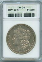 1889 CC ANACS VF30 MORGAN SILVER DOLLAR $1 US  KEY 1889-CC VF-30 SOAPBOX