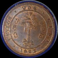 CEYLON 1923 ONE CENT OLD WORLD COIN UNC SOME ORIGINAL LUSTER