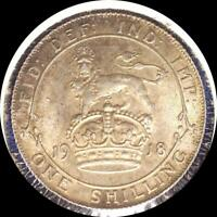 GREAT BRITAIN 1918 SHILLING OLD WORLD STERLING SILVER COIN HIGH GRADE