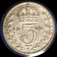 GREAT BRITAIN 1906 3 PENCE OLD WORLD STERLING SILVER COIN