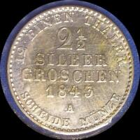 GERMAN STATES PRUSSIA 1843 A 2 1/2 GROSHEN OLD WORLD SILVER COIN HIGH GRADE