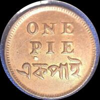 INDIA 1835 1 PIE OLD WORLD COIN CH. UNC. SOME ORIGINAL LUSTER