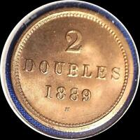 GUERNESEY 1889 H 2 DOUBLES OLD WORLD COIN CH. BU MUCH ORIGINAL LUSTER