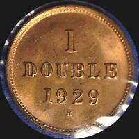 GUERNESEY 1929 H 1 DOUBLE OLD WORLD COIN CH. BU MUCH ORIGINAL LUSTER