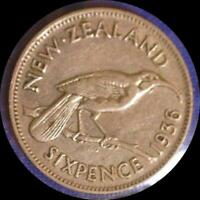 NEW ZEALAND 1936 6 PENCE OLD WORLD SILVER COIN HIGH GRADE