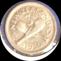 NEW ZEALAND 1936 3 PENCE OLD WORLD SILVER COIN HIGH GRADE
