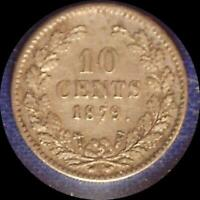 NETHERLANDS 1879 10 CENTS OLD WORLD SILVER COIN HIGH GRADE