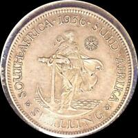 SOUTH AFRICA 1936 SHILLING OLD WORLD SILVER COIN HIGH GRADE