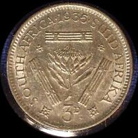 SOUTH AFRICA 1935 3 PENCE OLD WORLD SILVER COIN HIGH GRADE