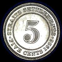 STRAITS SETTLEMENTS 1926 FIVE CENT OLD WORLD SILVER COIN GEM BU