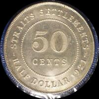 STRAITS SETTLEMENTS 1921 50 CENT OLD WORLD SILVER COIN HIGH GRADE