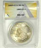 1885-CC 1$ CERTIFIED MINT STATE 64 MORGAN SILVER DOLLAR ANACS UNDER GRADED US COIN