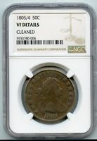 1805/5 DRAPPED BUST HALF DOLLAR 50C NGC VF DETAILS CLEANED