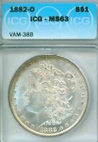 NEAT COLOR - 1882-O MORGAN DOLLAR, CHOICE MINT STATE 63 IN ICG HOLDER - VAM 38B TOO