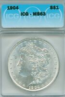 RESPECTABLE ICG CHOICE MINT STATE 63 1904 MORGAN DOLLAR  WHITE, MINIMALLY MARKED