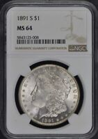 1891-S MORGAN DOLLAR S$1 NGC MINT STATE 64