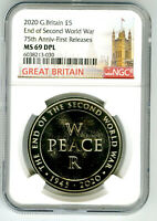 2020 GREAT BRITAIN 5PND PEACE & WAR NGC MS69 DPL END OF WWII