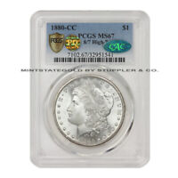 1880-CC 8/7 HIGH 7 $1 MORGAN SILVER DOLLAR PCGS MINT STATE 67 CAC & PQ APPROVED GEM COIN