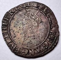WELL DEFINED QUEEN ELIZABETH 1ST SILVER SHILLING   WOOLSACK