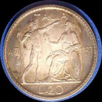 ITALY 1927 20 LIRA OLD WORLD LARGE SILVER COIN HIGH GRADE