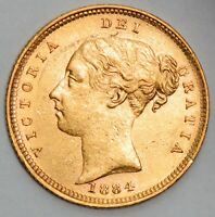 UNCIRCULATED 1884 QUEEN VICTORIA YOUNG HEAD GOLD HALF SOVERE