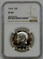 1964   PROOF SILVER KENNEDY HALF DOLLAR   NGC PF 69