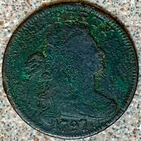 1797 DRAPED BUST LARGE CENT   REVERSE OF 1797 WITH STEMS   C