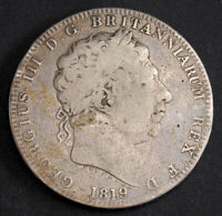 1819 GREAT BRITAIN GEORGE III. BEAUTIFUL LARGE SILVER CROWN