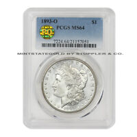 1893-O $1 MORGAN PCGS MINT STATE 64 PQ APPROVED NEW ORLEANS SILVER DOLLAR WHITE COIN