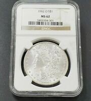 1902 O MORGAN SILVER DOLLAR COIN NGC MINT STATE 62 BU UNC CERTIFIED NEW ORLEANS