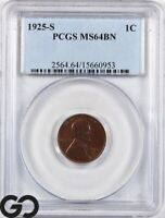 1925 S MS64 LINCOLN CENT WHEAT PENNY PCGS MINT STATE 64 BN
