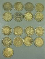 CANADIAN 5C SILVER COLLECTION 16 COINS 1886   1919   1 1896 NEWFOUNDLAND