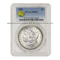 1901 SILVER MORGAN $1 PCGS MINT STATE 63 PQ APPROVED CHOICE PHILADELPHIA DOLLAR COIN