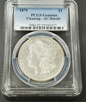 1879 P $1 MORGAN SILVER DOLLAR COIN IMPROPERLY CLEANED PCGS GRADED AU DETAILS