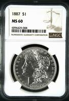 MORGAN SILVER DOLLAR 1887 P NGC MINT STATE 60