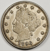 1896 LIBERTY NICKEL.  NATURAL UNCLEANED.  AU-UNC.  158650