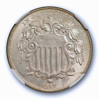 1867 5C NO RAYS SHIELD NICKEL NGC MINT STATE 62 UNCIRCULATED WHITE U.S TYPE COIN
