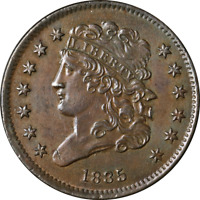 1835 HALF CENT  UNC C-1 R.1  EYE APPEAL  LUSTER STRONG STRIKE