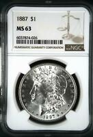 MORGAN SILVER DOLLAR 1887 P NGC MINT STATE 63