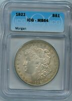 1921 P ICG MINT STATE 64 MORGAN DOLLAR $1 US MINT SILVER COIN 1921-P MINT STATE 64
