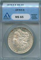 1878 S ANACS MINT STATE 65 MORGAN SILVER DOLLAR $1 BETTER US 1878-S MINT STATE 65 GEM PQ COIN