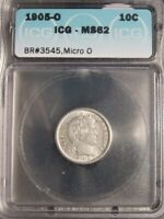 1905-O MICRO O BARBER DIME ICG MINT STATE 62  DATE  COLOR BETTER VARIETY BR3545