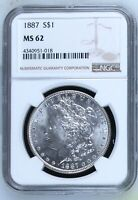 MORGAN SILVER DOLLAR 1887 P NGC MINT STATE 62
