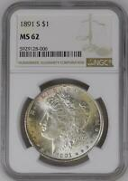 MORGAN SILVER DOLLAR 1891 S NGC MINT STATE 62