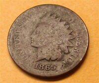 INDIAN HEAD PENNY----1865----CIRCULATED COIN---AS FOUND