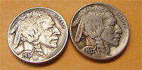 BUFFALO NICKELS---2 COINS----1937 AND 1937-D-----2 COIN LOT